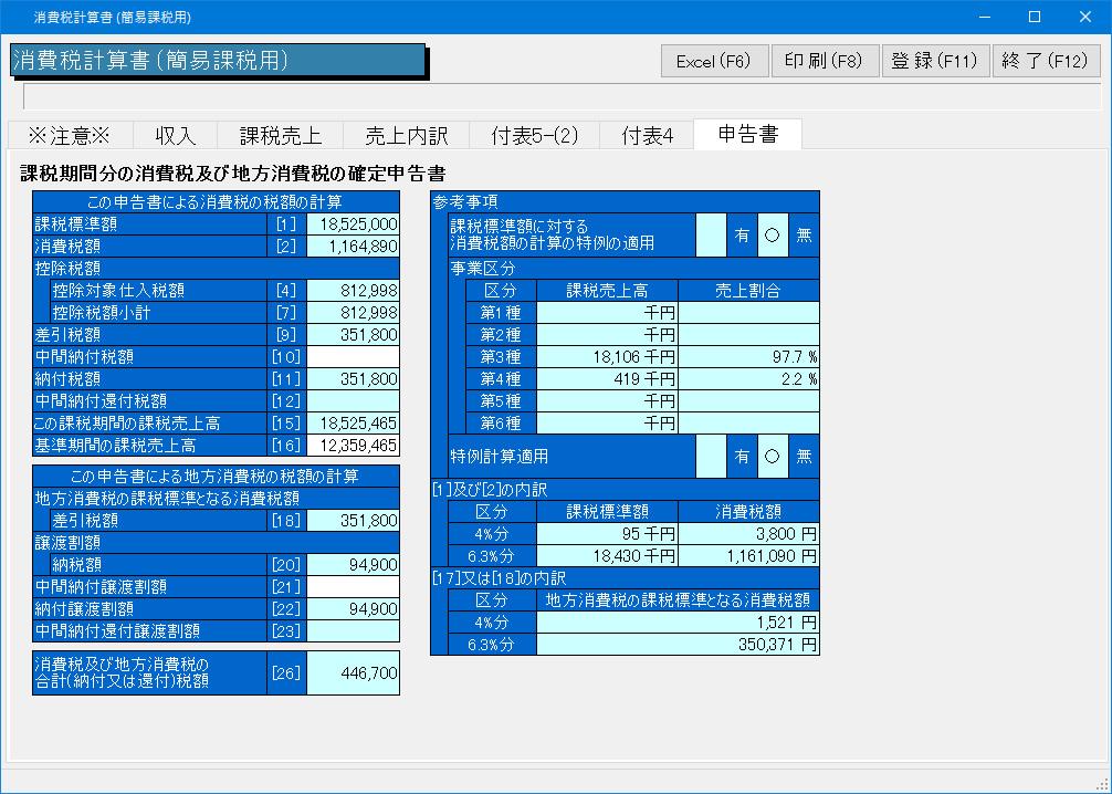 消費税計算書(簡易課税用)画面